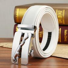 """Men Leather Belts Automatic Ratchet Buckles White Jeans Waist Belt 110 CM (44"""")"""