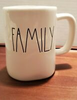 Rae Dunn Artisan FAMILY Ceramic Mug LL Large Letters White w/Black Letters.