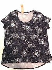 Ladies Size 16 Navy Blue Floral Stretch Top