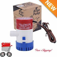 "12V 2.0A 500 GPH Electric Bilge Pump Marine Boat Yacht Submersible 3/4"" Hose KN"