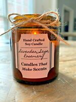 Handmade Soy Candles that smell AMAZING in 4oz & 9oz Amber Jars