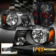 NEW 2004-2008 Ford F150 F-150 Black Headlights + Smoke Euro Tail Lights Combo