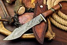 Custom Hand Made Damascus Steel Blade Bowie Hunting Knife | Walnut Wood