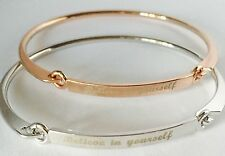 'Believe In Yourself' Meaningful Message Bangle Bracelet  family/  friend Gift