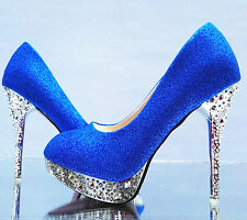 Womans Glitter Gorgeous Wedding Bridal Evening Party Crystal High Heels Shoes