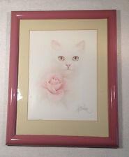 Bob Harrison  Print Signed  Vintage White Cat/kitten w/ Rose