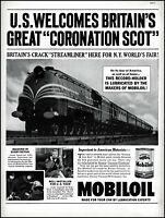 1939 Brit Streamliner Train Coronation Scot Mobiloil vintage photo print ad L48
