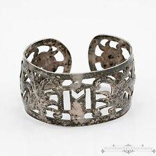 Antique Vintage Victorian Sterling Silver Filigree Leaf & Vine Cuff Bracelet!