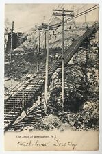 1906 NJ Postcard Weehawken New Jersey The Steps children on stairs utility poles