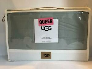 BRAND NEW UGG QUEEN SHEET SET IONA  100% COTTON 300 THREAD COUNT  MINERAL