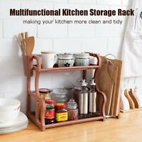 2 Tier Plastic Kitchen Storage Rack Tool Organizer Holder Shelf Home Bathroom