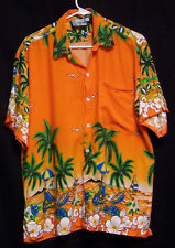 Men's L/XL Just Cruising Hawaiian shirt Orange with Palm Trees Lei Flowers
