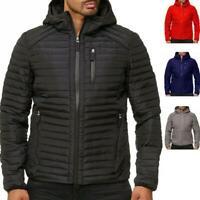 Packable Men Lightweight Down Jacket Winter Hooded Coat Puffer Outerwear Warm