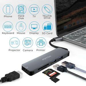 6 in 1 USB Hub with 3.0 USB Ports, 4K HDMI, SD/Micro SD Card Reader, USB C Port