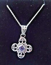 Superb Antique Style Sterling Silver & Iolite Pendant and Sterling Chain