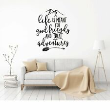 LIFE GOOD FRIENDS ADVENTURES Vinyl Wall Decal Wall Quote Lettering Art Sticker