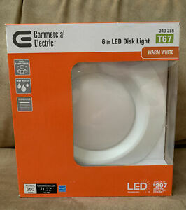 Commercial Electric 6in LED Disk Lights Warm White T67