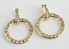 EasyConnect Earrings with Large Gold Swarovski Crystal Circles by Gulten Dye