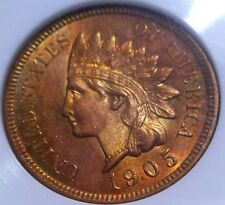 1905-Indian Head Cent Superb Gem Unc/MS+++++Red-Spectacular Toning-High Grade