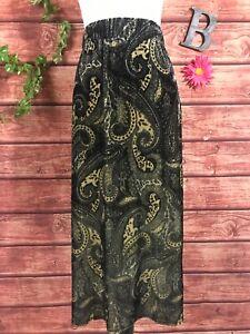 Susan Graver Skirt Plus 2X Gray Silver Gold Paisley Velour A Line Calf Midi Slim