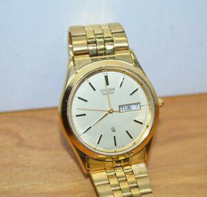 Citizen Quartz Mens Watch 1100-R12551 RC Gold Tone Wristwatch