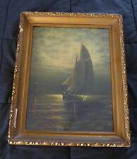 ~ vintage © 1908 WESLEY WEBBER marine PRINT ~ Sailing Ship Lighthouse ~ New Eng