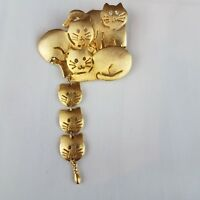 Vintage Ultra Craft Brushed Gold Tone 6 Kitty Cats Dangle Drop Pin Brooch