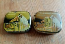 Antique HIS MASTERS VOICE Half Tone Gramophone Needle Tins & Contents