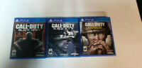 PS4 Call Of Duty Bundle Ghosts WWII WW2 Black Ops III 3 Playstation 4