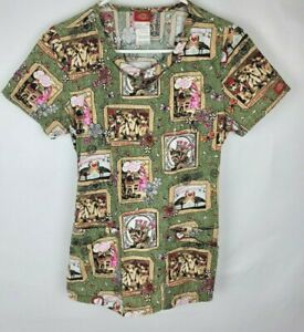 Dickies Womens Size XS Green Brown Cat Dog Elastic Back Short Sleeve Scrub Top