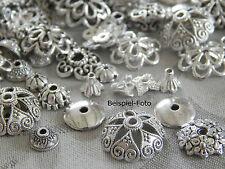 100-200 Perlenkappen silber MIX 4mm-15mm Metall Perlkappen Kappen div Größen