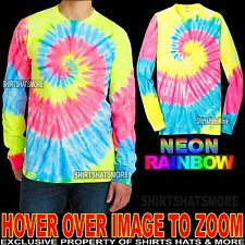 Mens Long Sleeve Tie Dye T-Shirt NEON RAINBOW Tye Died Tee S-XL 2XL, 3XL, 4XL