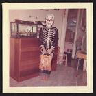 SKELETON BEN COOPER MASK HALLOWEEN COSTUME BAREFOOT BOY~ 1950s VINTAGE PHOTO