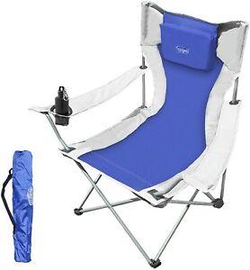Sedia da Campeggio Pieghevole, Sdraio Portatile Ultraleggera con Porta Bibite