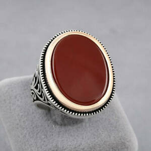 Solid 925 Sterling Silver Carnelian Gemstone Statement Boys Mens Ring Jewelry