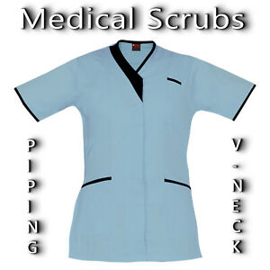 Medical Scrubs Top Hospital Scrubs PIPING V-NECK Womens Scrubs Medical Uniform