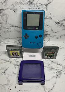 Refurbished Nintendo GameBoy Color Handheld Console Teal turquoise 2 Game Bundle