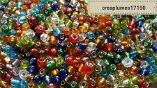 Perles de rocaille  4mm 20g multicolore  trou argenté