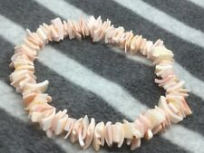 Coral Pink Puka Shell Bracelet Surfer Beach Holidays Gift Hippy Boho Gift J185
