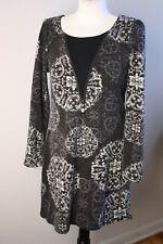 8b6d0773d08 Aryeh M Brown Gray Geometric Paisley Print Knit Sweater Dress Zip Detail