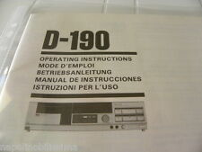 Sansui D-190 Owner's Manual  Operating Instructions Istruzioni New
