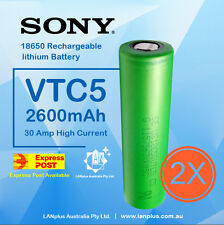 2 x Sony US18650 VTC5 2600mAh 30 Amp HIGH CURRENT Rechargeable Lithium Battery