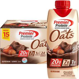 Premier Protein 20g Protein with Oats Shake, Chocolate Hazelnut (11oz, 15 pk)
