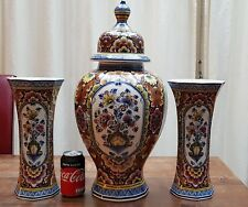 Huge Dutch Delft Mantle garniture Set 3 Pottery (2 Vases / 1 Jar Urn) Vintage