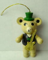 Christmas Bear Wooden Ornament with Guitar 1984 vintage