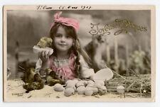 c 1910 Child Children Cute GIRL w/ EASTER DUCKS eggs bird photo postcard