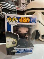 "Funko POP! Star Wars #36 ""Emperor Palpatine"" Vinyl Bobble Head - Blue Box RARE"