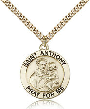 "Saint Anthony Medal For Men - Gold Filled Necklace On 24"" Chain - 30 Day Mone..."