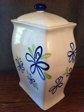 "Starbucks White Ceramic Coffee Biscotti JAR Blue Floral Green Leaves 8+"" tall"