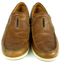 Clarks Mens 10M Unstructured Brown Leather Casual Moc Toe Boat Deck Loafers
